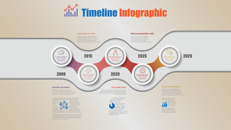 Road map business timeline infographic with 5 steps circle designed for background elements diagram planning process webpages workflow digital marketing data presentation chart. Vector illustration Illusztráció