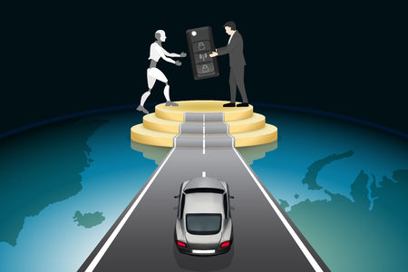 Artificial Intelligence futuristic technology innovative concepts, self-driving autopilot in near future. Businessman give car keys to robot on road podium with supercar, abstract vector illustration.