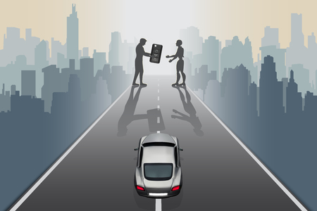 Artificial Intelligence futuristic technology innovative concepts self-driving autopilot in near future. Silhouette of design man give supercar keys to robot on city road, abstract vector illustration