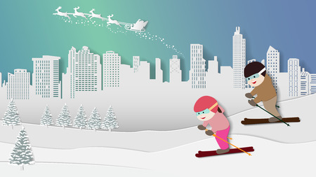 Paper folding art origami style vector illustration. Merry Christmas Happy New Year. Children are enjoying skiing in winter snow, night aurora lights sky with santa claus reindeer over city background Illustration