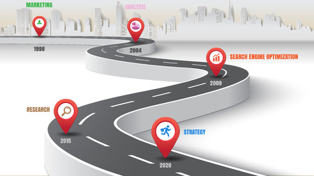Business road map timeline infographic expressway concepts city designed for abstract background template milestone diagram process technology marketing data presentation chart. Vector illustration