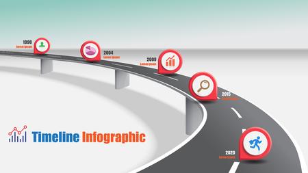 Conceptos de autopista de infografía de línea de tiempo de mapa de ruta de negocios diseñados para plantilla de fondo abstracto diagrama de hitos tecnología de proceso gráfico de presentación de datos de marketing digital ilustración vectorial