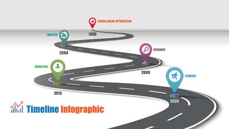 Business road map timeline infographic template with pointers designed for abstract background milestone modern diagram process technology digital marketing data presentation chart Vector illustration Illusztráció