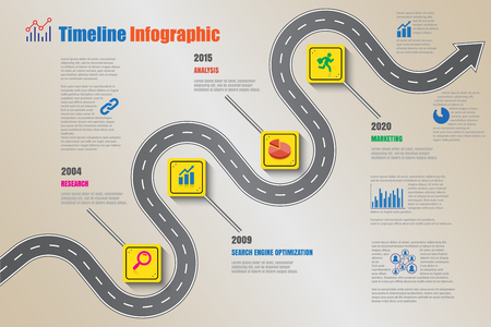 Business road signs map timeline infographic designed for abstract background template milestone element modern diagram process technology digital marketing data presentation chart Vector illustration Illusztráció