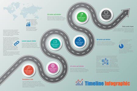 Business road signs map timeline infographic designed for abstract background template milestone element modern diagram process technology digital marketing data presentation chart Vector illustration Illustration