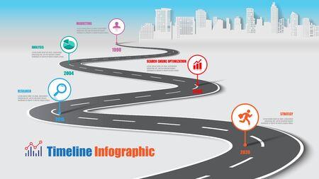 Ciudad de infografía de línea de tiempo de mapa de ruta de negocios diseñada para plantilla de fondo abstracto elemento de hito tecnología de proceso de diagrama moderno gráfico de presentación de datos de marketing digital ilustración vectorial