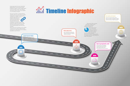Business road map timeline infographic template with pointers designed for abstract background milestone modern diagram process technology digital marketing data presentation chart Vector illustration 向量圖像