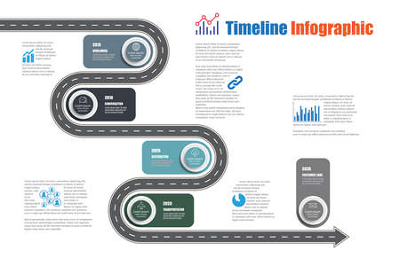 Business road map timeline infographic template with pointers designed for abstract background milestone modern diagram process technology digital marketing data presentation chart Vector illustration Stock Vector - 153687575