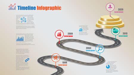 Business road map timeline infographic milestone pathway to podium designed for modern diagram process technology digital marketing data presentation chart. Vector illustration