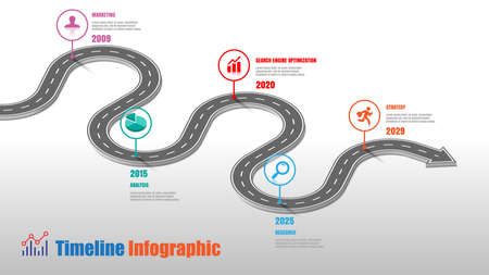Business road map timeline infographic template with pointers designed for abstract background milestone modern diagram process technology digital marketing data presentation chart Vector illustration