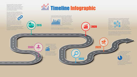 Business road map timeline infographic template with pointers designed for abstract background milestone modern diagram process technology digital marketing data presentation chart Vector illustration Illustration