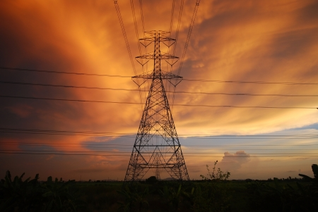 Hight voltage tower background clouds evening