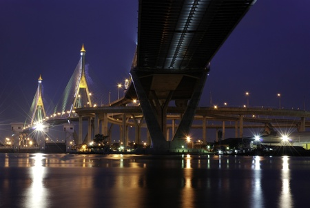 bridge at twilight across in thailand
