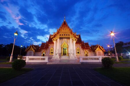 The Marble temple twilight in thailand