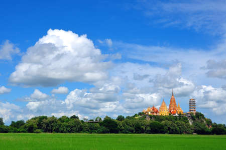 temple on green and blue sky thailand