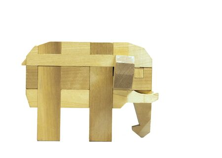 Elephant wood on white background Stock Photo