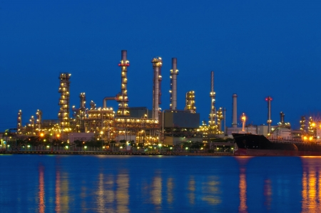 Refinery water front on twilight in thailand