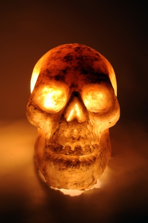 Burning skull in hot  photo