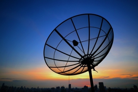 Satelite Dishes on sunrise photo