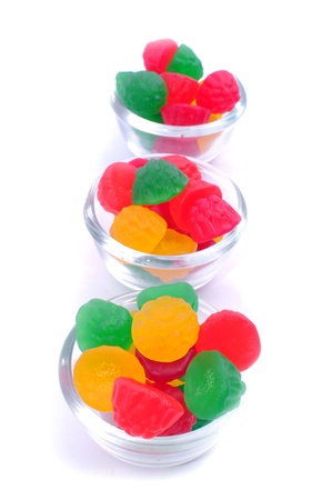 gummie: gummy bears candies in a bowl isolated on white background Stock Photo