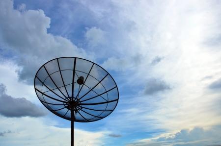sattelite: sattelite and blue sky background
