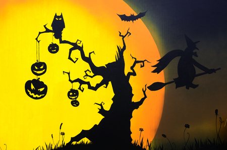 daunting: Halloween background with  pumpkins  Stock Photo