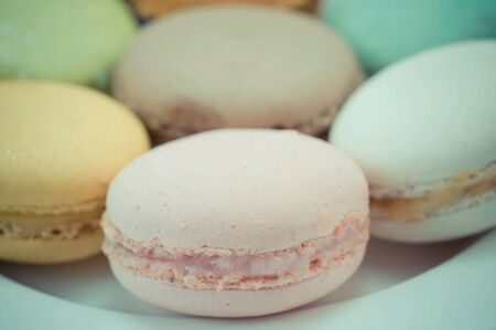 Macaron on plate  Stock Photo