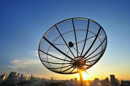 satelite: Satelite dish on sunrise