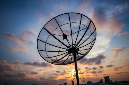 satelite: Satelite dish on sunrise. Stock Photo