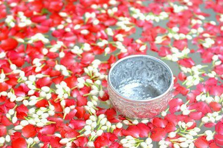 Flower on water in songkarn festival thailand.