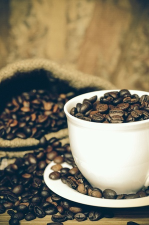 Coffee beans and coffee cup Stock Photo