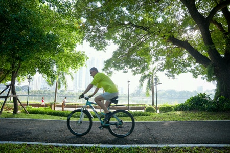 bicycling: Bicycling in park
