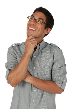 rolled up sleeves: Man Looking to the top left with hand on chin Stock Photo