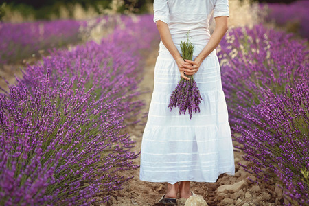 walk away: Beautiful young woman, holding lavender in a field on sunset Stock Photo