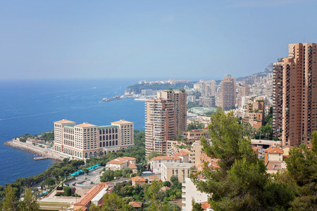 azure coast: Monaco Montecarlo cityscape, principality aerial view  Azure coast  France, Europe