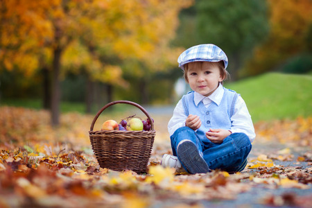 Boy in a park with leaves and basket of fruits photo