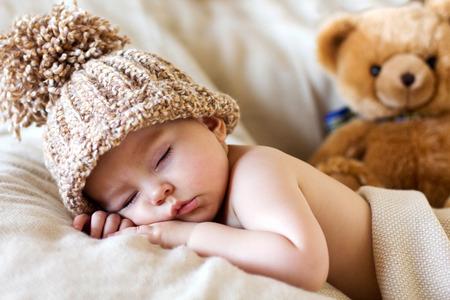 boy  naked: Little baby boy, sleeping with teddy bear