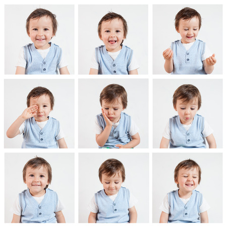 funny faces: Boy,making funny faces on a white