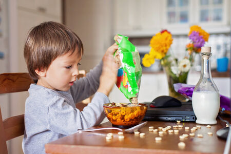 corn flakes: Adorable little boy, having cereals for breakfast while watching cartoon on computer Stock Photo