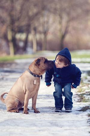Boy with cute dog, giving him a kiss photo