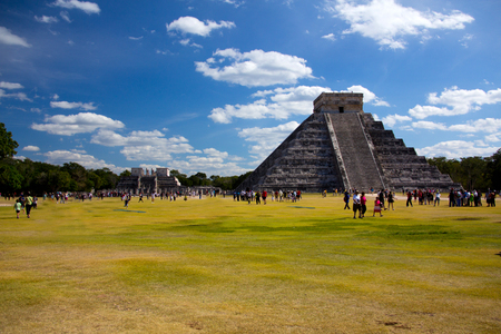 Travel Mexico background - Anicent Maya mayan pyramid El Castillo (Kukulkan) in Chichen-Itza, Mexico