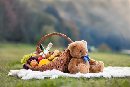 bear lake: Basket for picnic Stock Photo