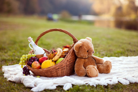 cute teddy bear: Basket for picnic Stock Photo