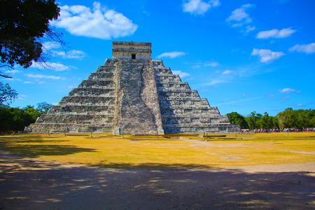 Travel Mexico background - Anicent Maya mayan pyramid El Castillo (Kukulkan) in Chichen-Itza, Mexico photo