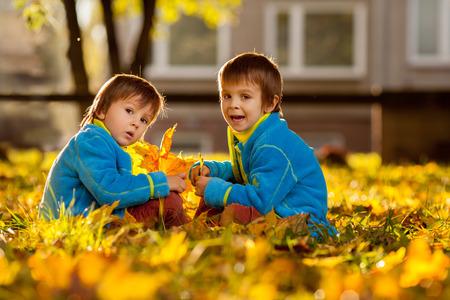 日没、バックライトの葉、美しいと遊ぶ公園で二人の少年 写真素材 - 32767863