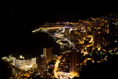 Scenic view from top of Monaco at night photo