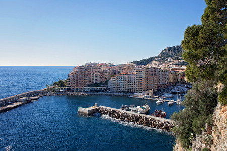 View of monaco port in Fontvielle from the castle, daytime, landscape view