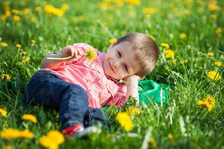 dandelion field: Cute little boy in a dandelion field, having fun