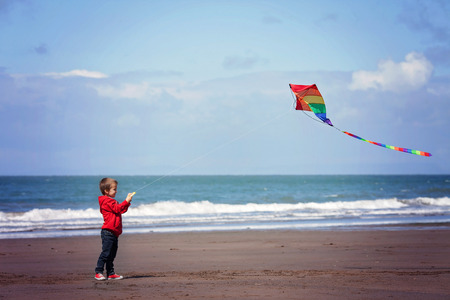 flying object: Cute boy flying  kite on the beach, having fun