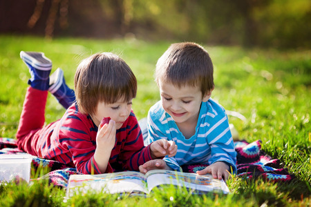 school book: Two adorable cute caucasian boys, lying in the park in a fine sunny afternoon, reading a book and eating strawberries, educating themselves and having fun Stock Photo